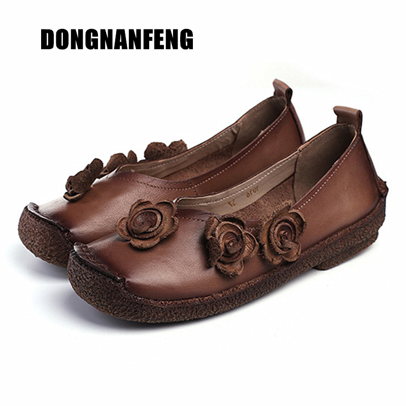 DONGNANFENG Women Female Ladies Shoes Flats Cow Genuine Leather Loafers Pigskin Non Slip On Flower Retro Soft 35-40 TJ-1016