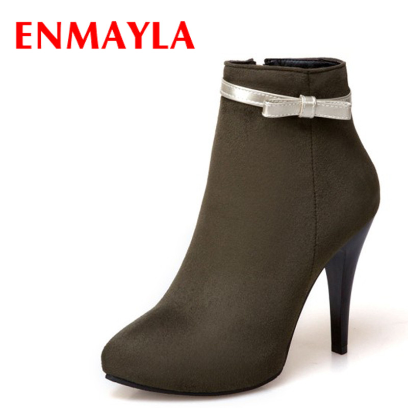 ENMAYLA Fashion Sexy High Heels Ladies Ankle Boots for Women Thin Heels Wedding Shoes Woman Pink Green Apricot Plush Size 34- 47 large size 33 42 sexy ankle boots platform thin high heels women boots plush inside keep warm black white apricot brown shoes