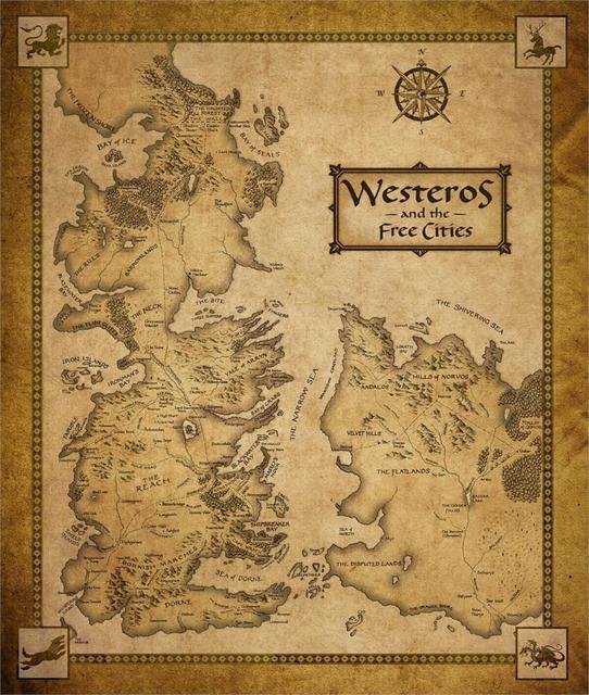 Game Of Thrones Häuser Karte Westeros Und Freies Städten Poster Home