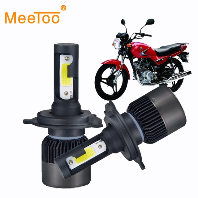 MeeToo 2Pcs Motorcycle Headlight LED H4 HS1 Bulbs Bombilla LED H7 Moto 6500K White 12V H3 H1 Led for Scooter Motorbike Headlamp