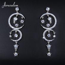 Crystal Drop Earrings Bridal Elegant Moon Star Long Dangle Earring Luxury Jewelry Statement Earrings Kristall Boucle D'Oreille