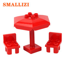 Building Blocks Accessory Baby Assembling Toys Furniture Umbrella Chair Compatible with Duplo Bricks Parts Toy For Children(China)