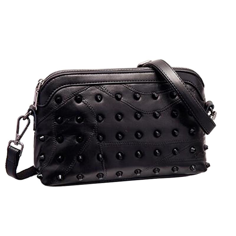 100% Genuine Leather Crossbody Small Bags for Women Messenger Bag Womens Handbag Rivet Shoulder Bags High Quality Handbags