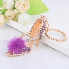 2017 Fashion Fur Pompom Ball Key Chains Rhinestone Crystal High Heel Shoe Keychain Bag Charm Car Keyring Key Rings For Women Y3
