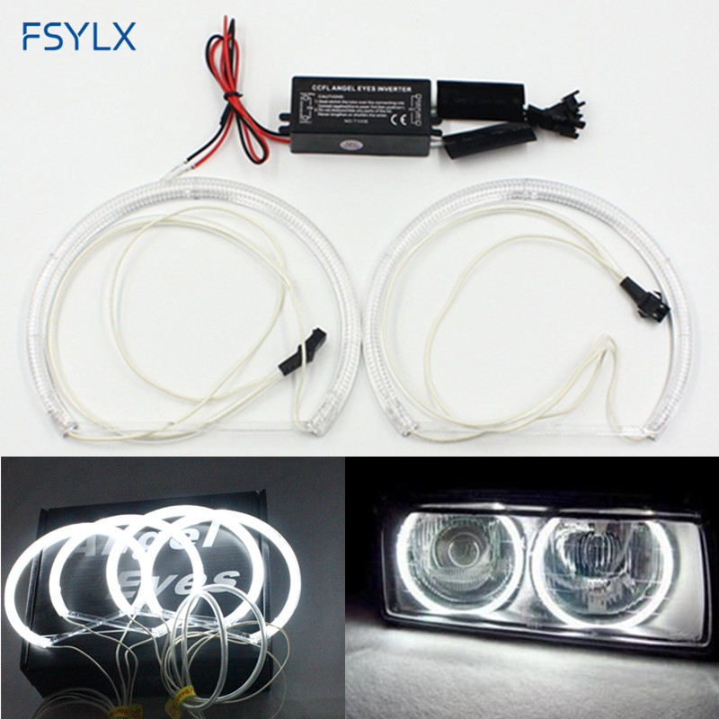FSYLX LED CCFL Angel Eyes for BMW E46 projector E36 E38 E39 4*131mm CCFL Halo Ring for BMW Car LED headlight DRL CCFL angel eyes 4 rings lot ccfl angel eyes case for bmw z3 led halo ring kit freeshipping ggg
