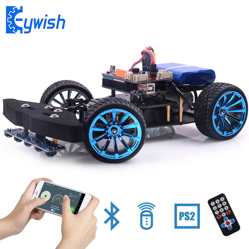 Racing Car for Arduino UNO R3 Smart Cars Super Starter Kit G-Sensor Infrared APP RC Remote Control Optional PS2 2.4G Educational arduino robot smart car kit uno r3 wireless control starter study l298n shield