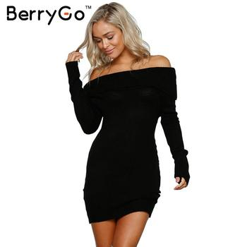BerryGo Autumn winter off shoulder knitted bodycon dress Women sexy long sleeve party dress 2018 short white dresses vestidos