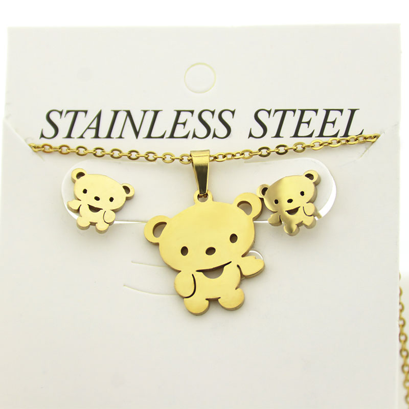 1 <font><b>Set</b></font> <font><b>Stainless</b></font> <font><b>Steel</b></font> <font><b>Jewelry</b></font> <font><b>Set</b></font> Little Teddy Bear Necklace Earrings Jewellry <font><b>Sets</b></font> <font><b>Women</b></font> Kids Festival Gifts image