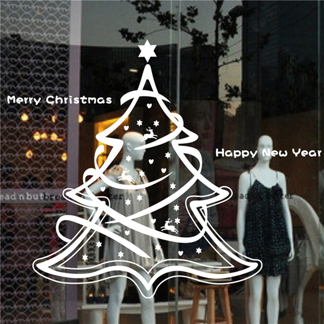 merry christmas tree new year stores glass window ornament decal home decorations vinyl diy wall stickers