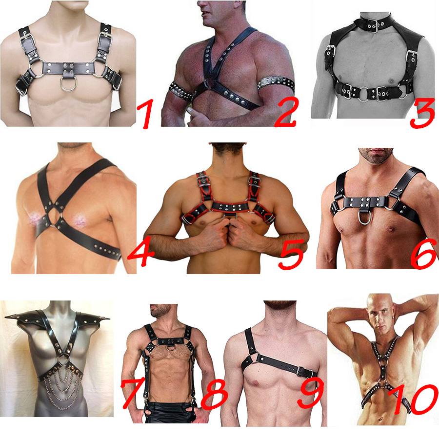 Male Red Chest Belts body Harness Gay Leather Buckle Clubwear Costume Straps new