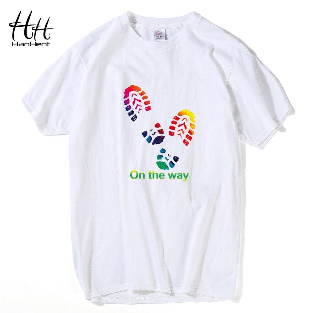 abd4ae902ad7f HanHent Baskı Yolda Harfler Ayak Izi Üstleri erkek T-Shirt kısa kollu  tişört pamuklu t-shirt Adam 2016 Moda Yaz
