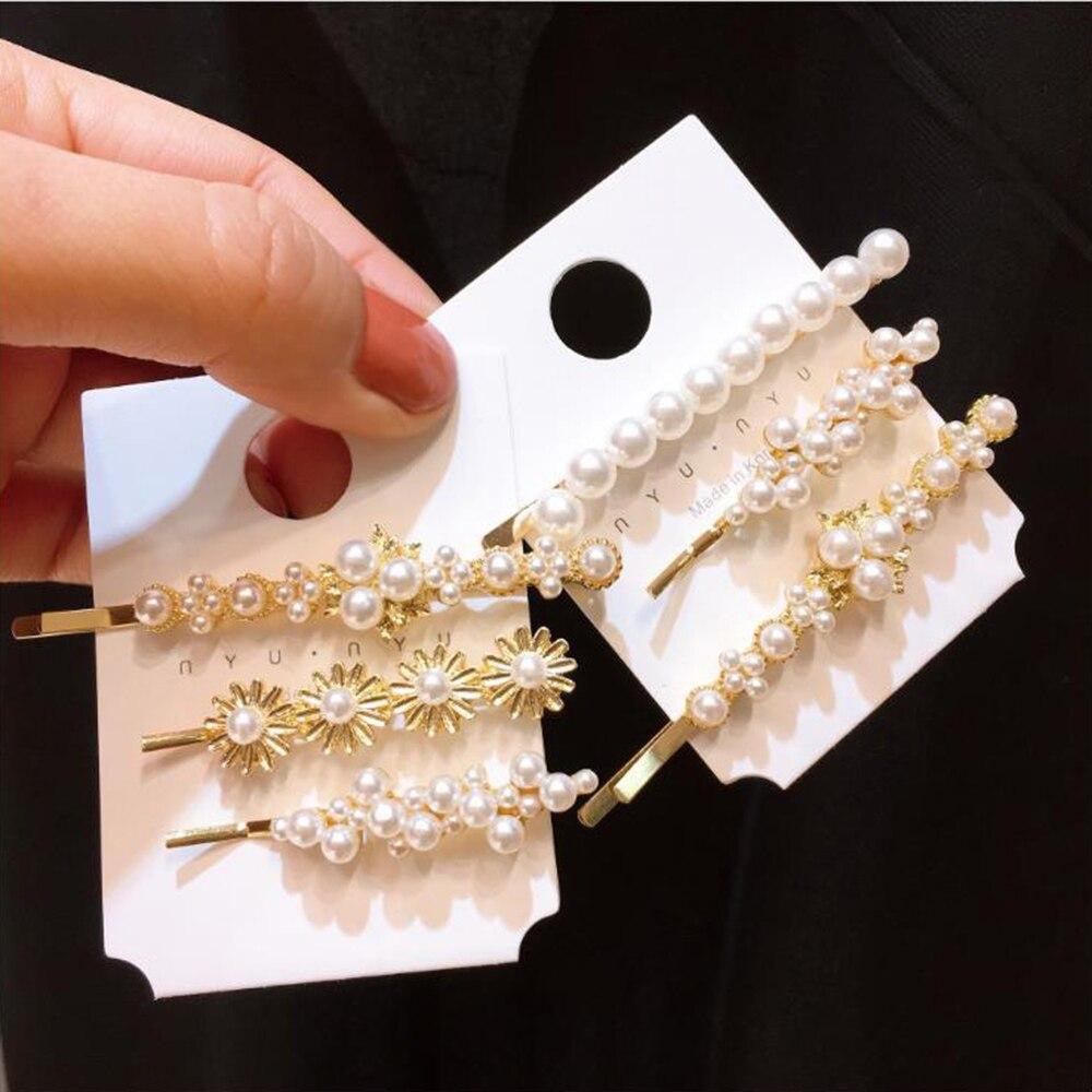 3 Teile/satz Vielseitig Haar Clip Blume Perle Haar Pins Set Frauen Ordner Pony Clip Haar Zubehör Headwear Haar Clips Für Mädchen Attraktive Mode