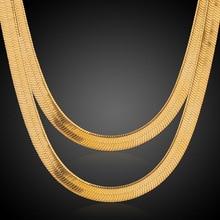 18 k Oro Amarillo Plateado Serpiente Herringbone Collar de Cadena Punk Hip-Hop Hombres Joyería de Cadena de Oro Para Los Hombres 5 Tamaños