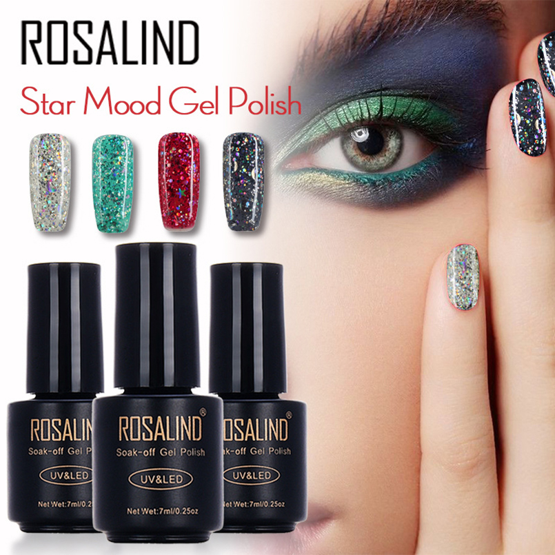 Galaxy Gel Nail Polish 73: Rosalind 12 Colors Shiny Galaxy Nail Polish 7ML Glitter UV