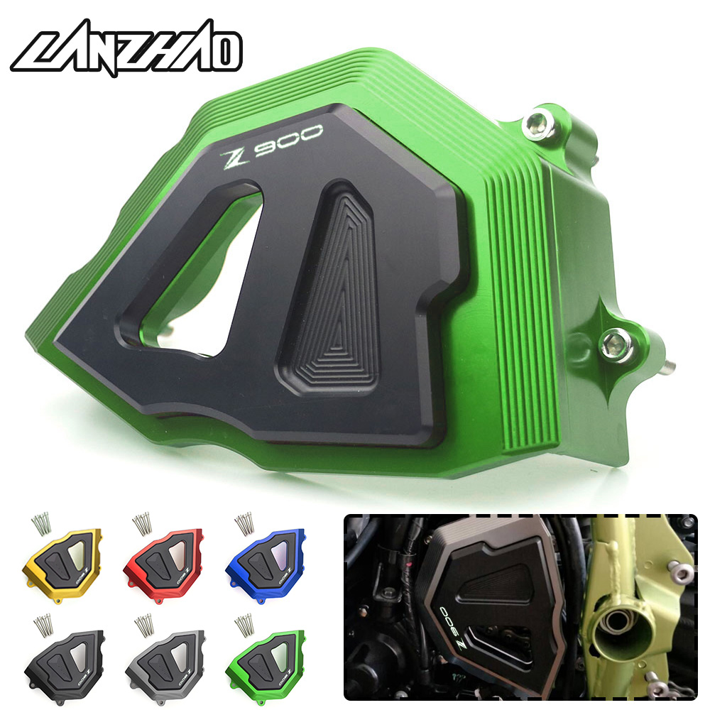 CNC Aluminum Motorcycle Front Sprocket Cover Chain Guard Crash Protector Slider Green Red Blue Black for Kawasaki Z900 2017 2018 цена