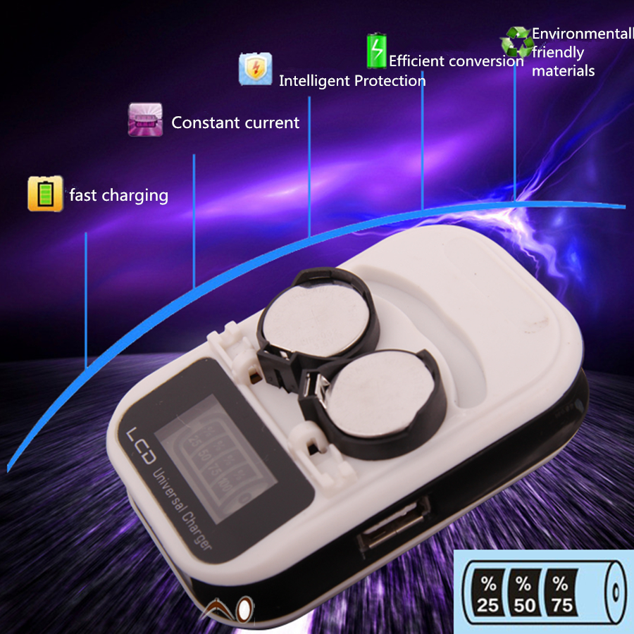 High-quality charger, rechargeable LIR2032 LIR2025 LIR2016 3.6V button battery, LED rechargeable display, USB interface