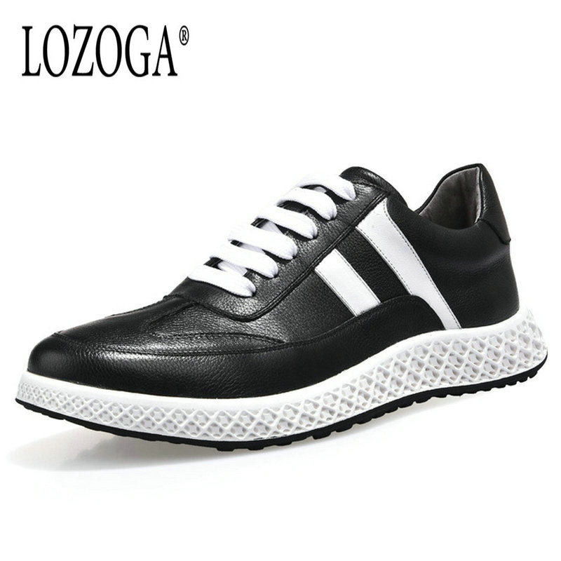 Lozoga New Luxury Shoes for Men Genuine Leather Casual Flats Shoes Comfortable Lace Up Brand Designer Sneakers Fashion Handmade цена