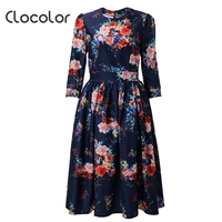 Hot Sale 2016 Clocolor Vintage Blue Summer Dress Print A Line Party Dress Holiday New Style
