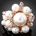 New Fashion Elegant Luxury Pearl Flower Rings For Women Striking Crystal Accessories Jewelry Hotsale