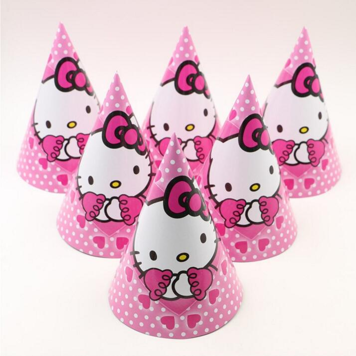f7a4e74bc 12pcs/lot Birthday party supplier Cute white cat HELLO KITTY theme party hat/cap  cartoon paper cap -in Party Hats from Home & Garden on Aliexpress.com ...