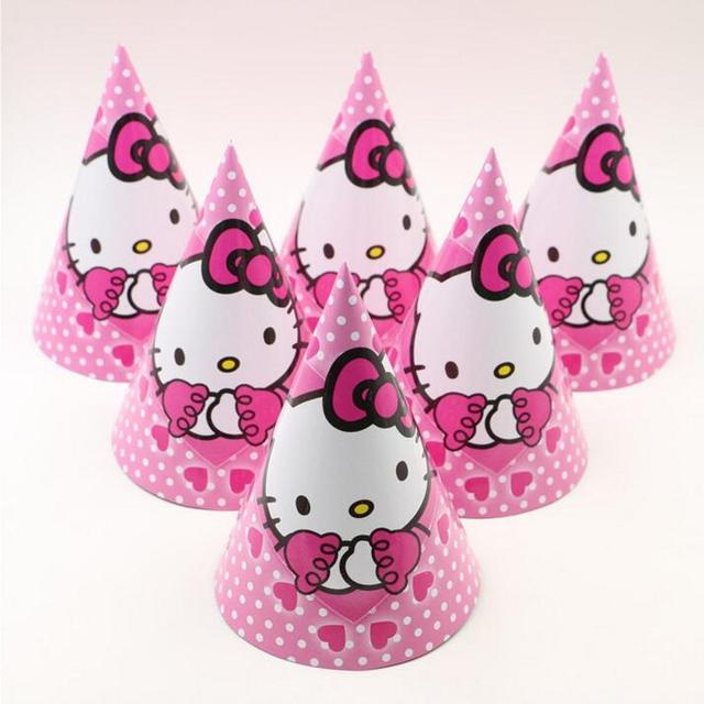 12pcs Lot Birthday Party Supplier Cute White Cat HELLO KITTY Theme Hat Cap Cartoon Paper