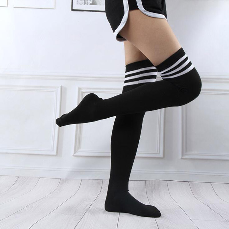 Adult Women Over Knee Long Stocking Tight Hight Cotton Anime Cosplay Striped Stockings Autumn Student Girl Sexy Lingerie