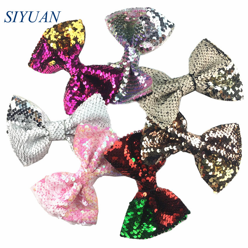 Wholesale 80pcs lot 5 inch Reversible Glitter Sequin Bow with Barrette Hair Clip Princess Lovely Headwear