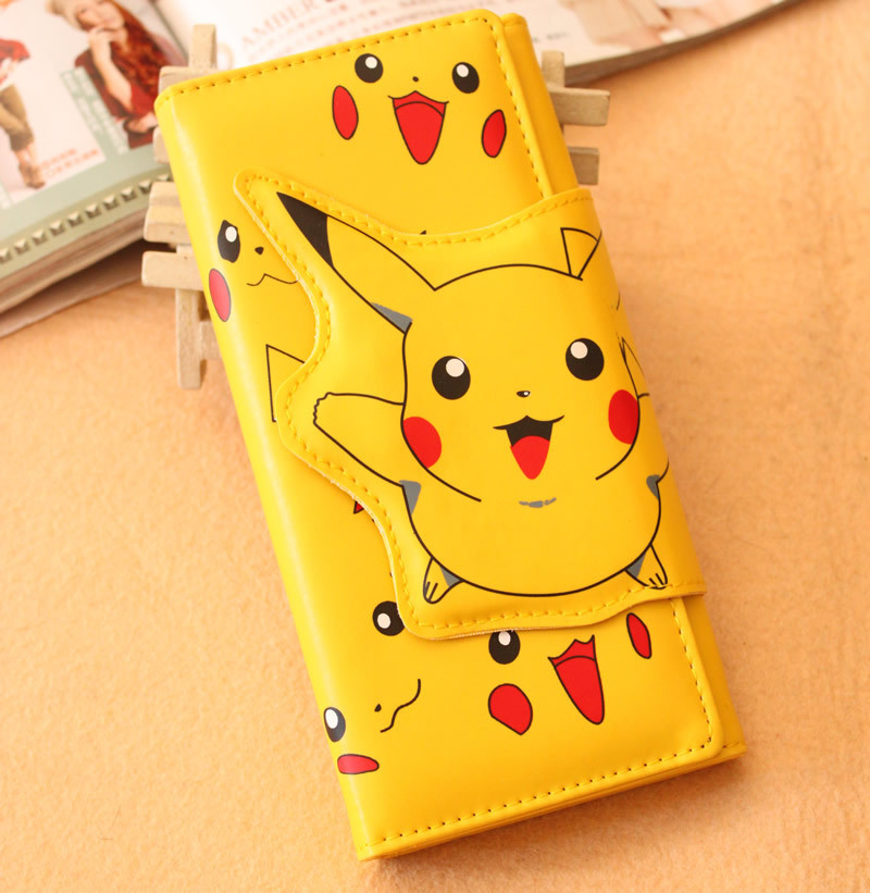 Free Shipping Animal Wallet Pokemon Japanese Cartoon Long Wallet Pokemon Pocket Monster Pikachu Purse WT0051 pu leather cartoon pikachu short purse children gift pocket monster wallet pokemon go geme