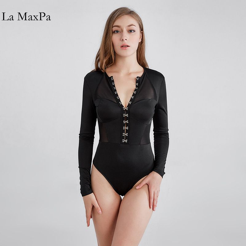 2017 Fashion Sexy Mesh Longsleeve Bodysuit Outfit For Women Negro Manga Larga Leotard Sheer Bodysuit ...