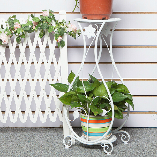 wrought iron flower stand shelf multi layer paint plant indoor floor type flowerpot rack. Black Bedroom Furniture Sets. Home Design Ideas