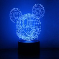 1X USB 3D Table Lamp Luminaria Led Night Lights Colourful Mickey Mouse Kids Children S Room