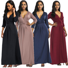 9bbd9a14705a5f 3XL plus size vrouwen lange stijl jurk 2018 3 4 mouwen sexy diepe v-hals  avond party tuniek maxi kleding zwart vestidos big size