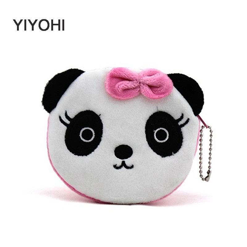YIYOHI Hot On Sale Kawaii Cartoon Panda/Squirrel Children Plush Coin Bag Purse Zip Change Purse Wallet Kids Girl Women For Gift yiyohi hot sale kawaii cartoon spirited away children plush coin purse zip change purse wallet kids girl women for gift