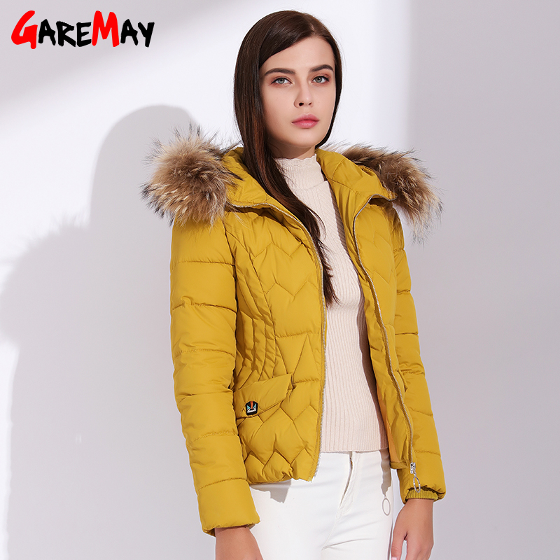 Womens Parka Real Fur Hooded Jacket Short Woman Winter Jackets With Fur 2017 With Down Cotton Women Waterproof Coats  GAREMAY nike alliance parka 550 hooded