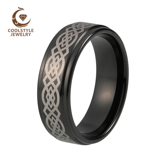 Us 1399 Aliexpresscom Buy 8mm Black Plated Laser Engraved Tungsten Carbide Wedding Band Stepped Edges High Polished From Reliable Wedding Band