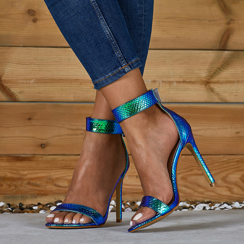 Sandals Novelty Shoes Ankle-Strap Thin-Heels Fashion Women Summer Front for Mixed-Colors