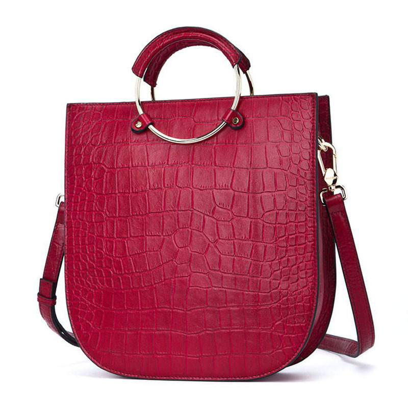 New Arrival Alligator Pattern Women Totes Fashion Genuine Leather Women Shoulder