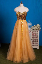 Gold Pailletten Abendkleider Heißer Schatz Faltet a-linie Tüll Spezielle Kleid Sweep Zug Lange Frauen Formal Dress