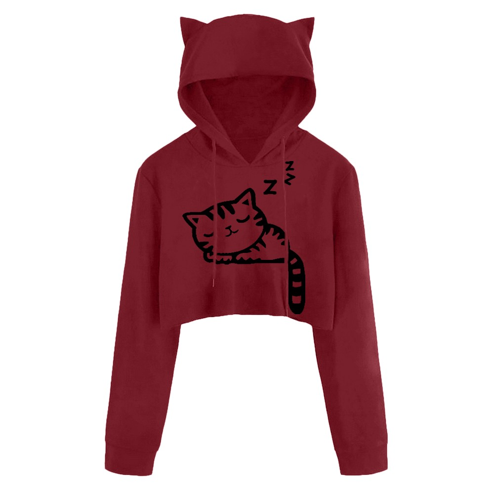 S-2xl New Cropped Hoodies Women Long Sleeve Sexy Casual Cat Kitty Print Sweatshirt Short Hooded Pullover Crop Tops Clothes #10 Warm And Windproof Women's Clothing