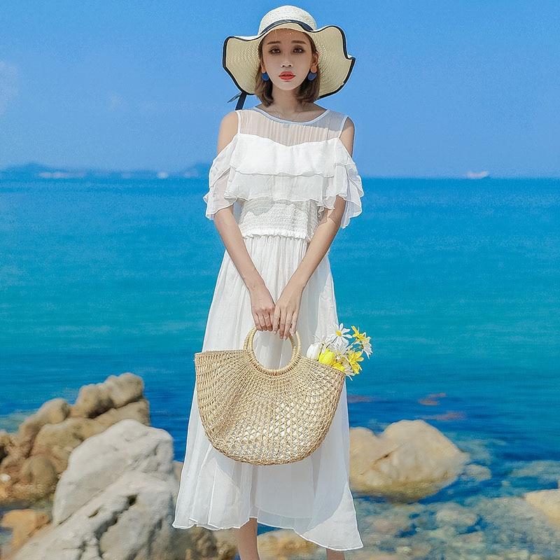 Robe en soie 2019 printemps été femmes longue décontracté sexy en mousseline de soie robes de plage bohème plus grande taille boho blanc sans bretelles mode - 4