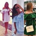 Marca de moda vestidos de verão dress dress mangas ruffles tiras cruzadas das mulheres fora do ombro vestidos vestidos de festa cor doce