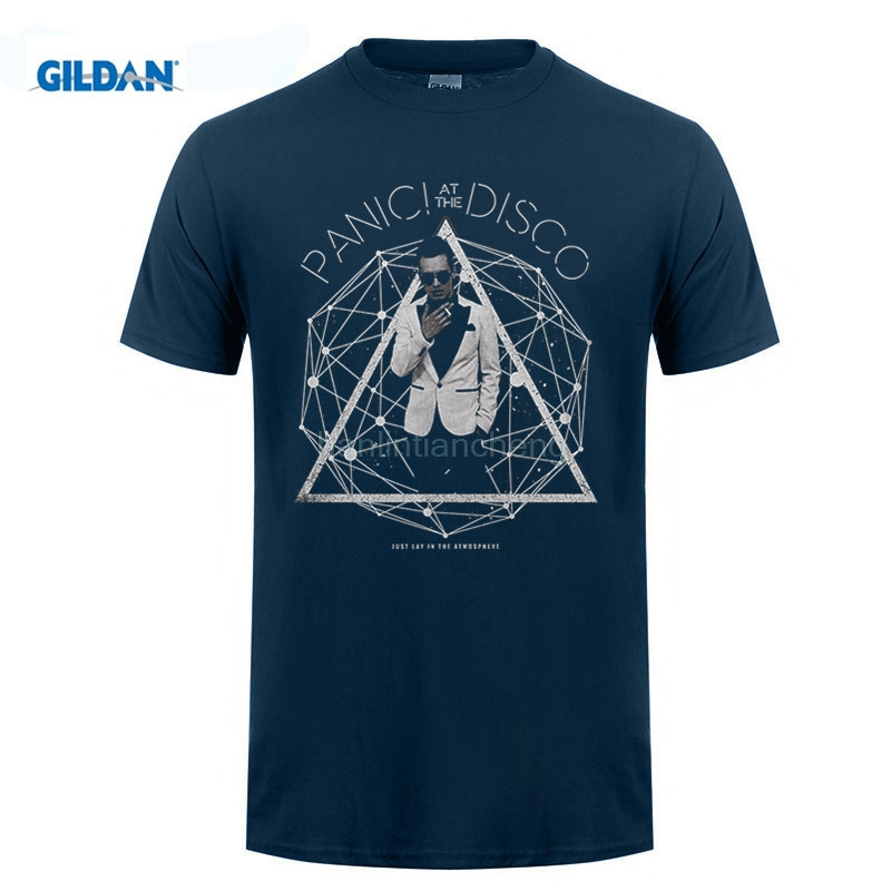GILDAN mens t shirts Men T Shirt Cheap Sale Authentic Panic At The Disco Band Photo Galaxy Slim Fit T-shirt