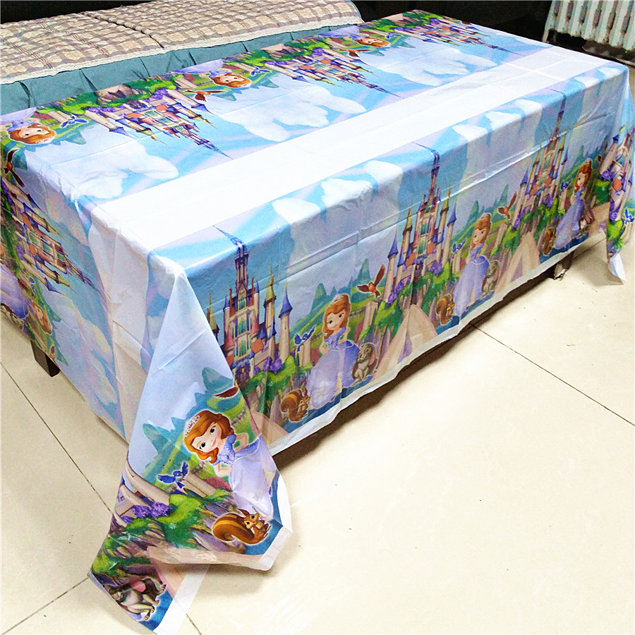 108cm 180cm Princess Table Cloth Kid Birthday Party Supplies Princess Sofia Disposable Tablecloth Mermaid Party Decoration Favor in Disposable Party Tableware from Home Garden