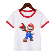 Super Mario Boy T-shirt kids Cartoon Funny Short Sleeve Children Baby Clothes Summer tops girls T-shirts Casual Tee camiseta стоимость