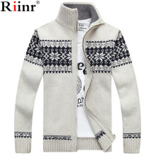 Riinr Новое поступление повседневный мужской свитер полосатый Рождественский свитер ветровка теплые модные мужские кардиганы, свитера