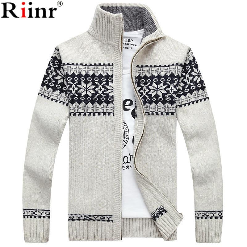 Riinr 2019 New Arrivals Casual Sweater Men Striped Christmas Sweater Windbreaker Warm Fashion Cardigan Men Sweaters