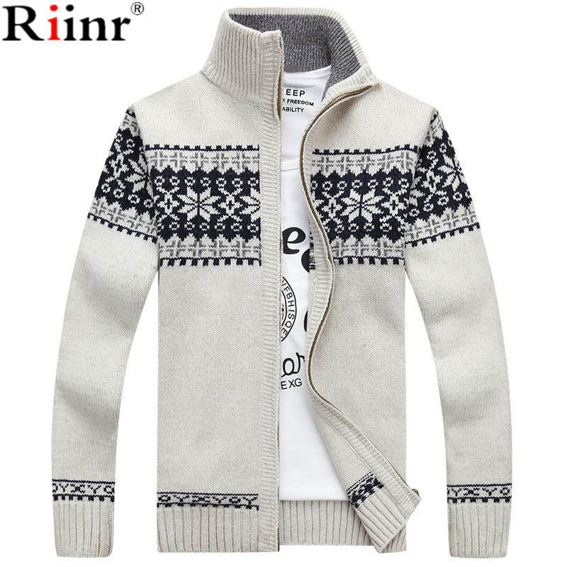 Riinr 2019 New Arrivals Casual Sweater Men Striped Christmas Sweater Windbreaker Warm Fashion Cardigan Men Sweaters(China)