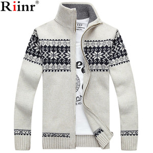 Riinr 2019 New Arrivals Casual Sweater Men Striped Christmas Sweater Windbreaker Warm Fashion Cardigan Men Sweaters(China)
