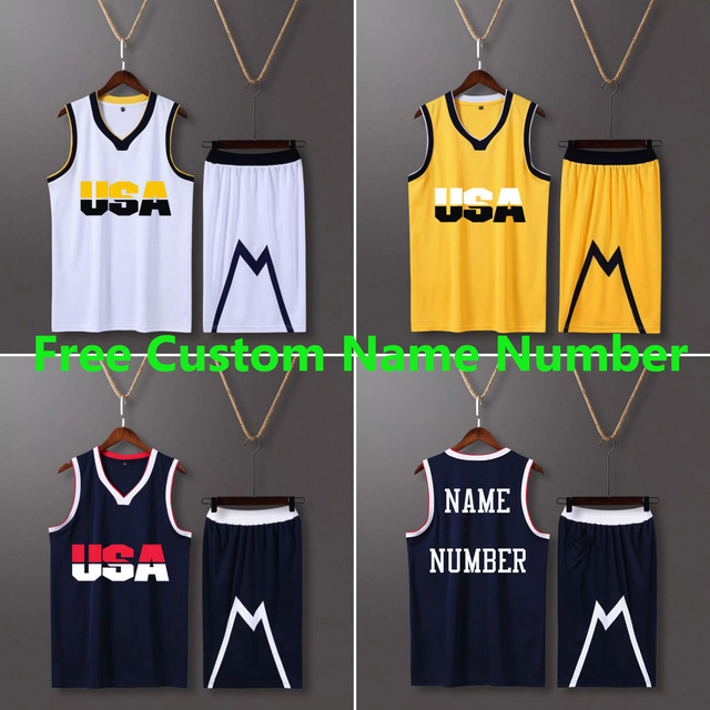 Mannen & Kid Usa Basketball Jerseys Kit Uniformen Jeugd Vs College Throwback Basketbal Kits Trainingspakken Custom Sport Jersey Sets