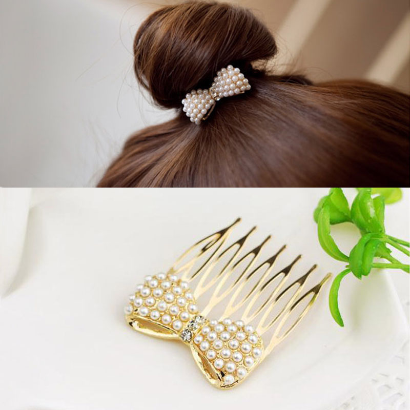 Hot 1 Pc Women Fashion Lovely Simulation Pearl Bow Hair Combs Hairpin   Headwear   Accessories Jewelry Gift